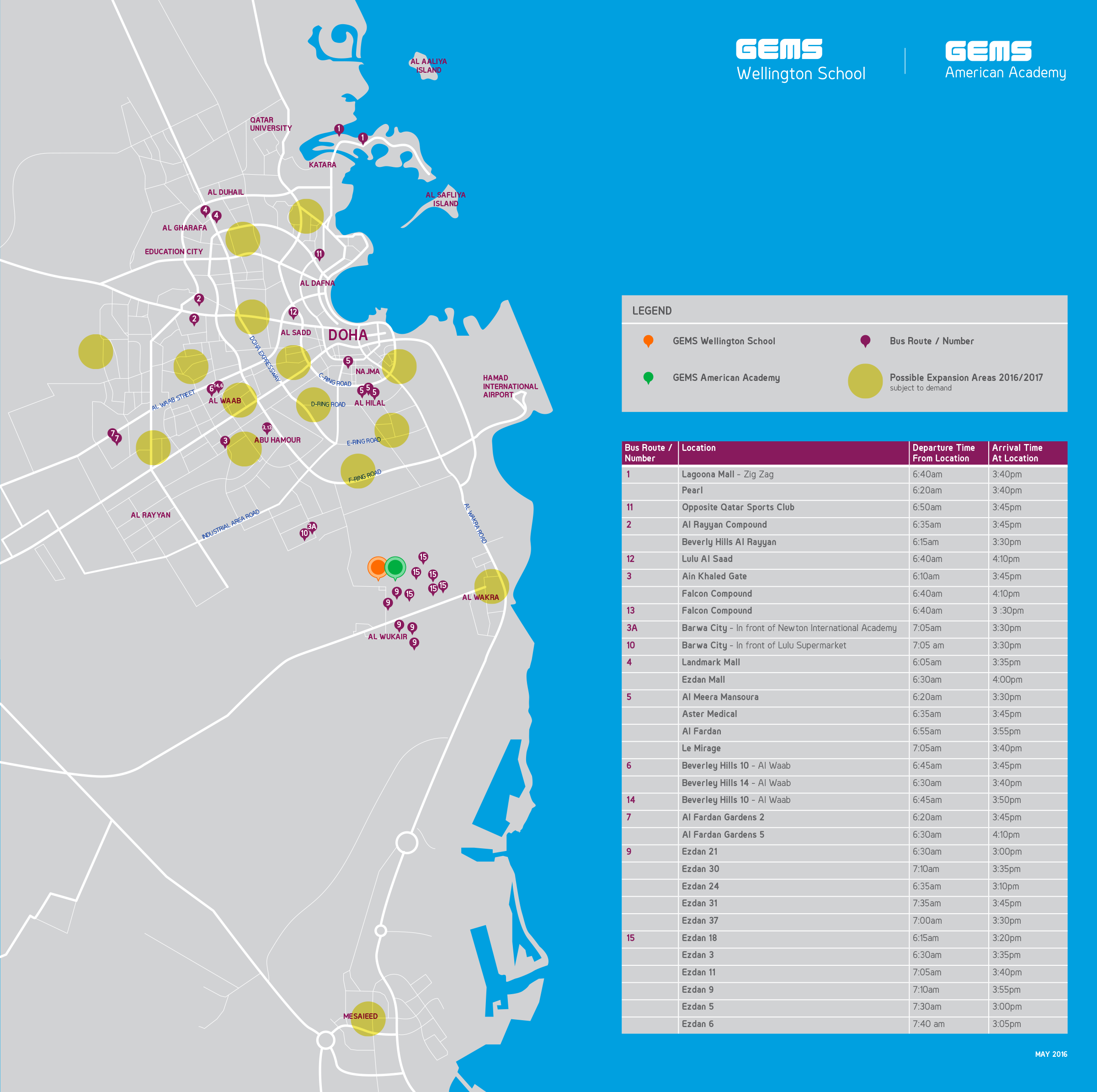 Bus Route | GEMS American Academy Qatar on